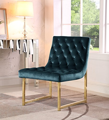 Iconic Home Moriah Accent Chair Sleek Elegant Tufted Velvet Upholstery Plush Cushion Brass Finished Polished Metal Frame, Contemporary Modern, Green