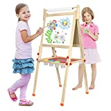 BATTOP Double Sided Adjustable Kids Easel Drawing Board with Magnetic Alphabet Numbers - Extra Accessory Set Included (3 in 1)