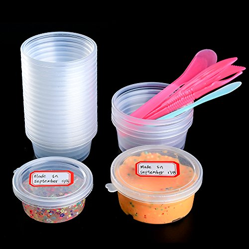 OPount 24 Pack 2 Size Foam Ball Storage Containers for Slime DIY Art Craft including 3 Pieces Tools, 2 Pieces Mixing Stick, 2 Pieces Labels, 2 Pieces Measuring Cup and 1 Piece Double-headed Marker Pen