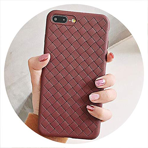 No Buy No Bye Solid Color Woven Pattern Fitted Case for iPhone Xs X XS Max XR 6S 7 8 Plus Soft TPU Protector Full Body Coverage Shell,Brown,for iPhone XR
