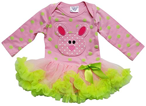 So Sydney Infant Baby Girls Skirted Tutu Bodysuit Easter Holiday Spring Romper (XS (0-3 Months), Bunny Pink Polka) ()
