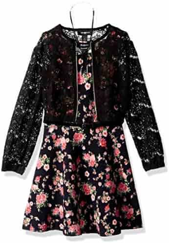 Amy Byer Big Girls' Print Knit Dress with Lace Bomber Jacket