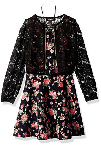 Amy Byer Big Girls' Print Knit Dress with Lace Bomber Jacket, Pat g/Multi, 8 by Amy Byer