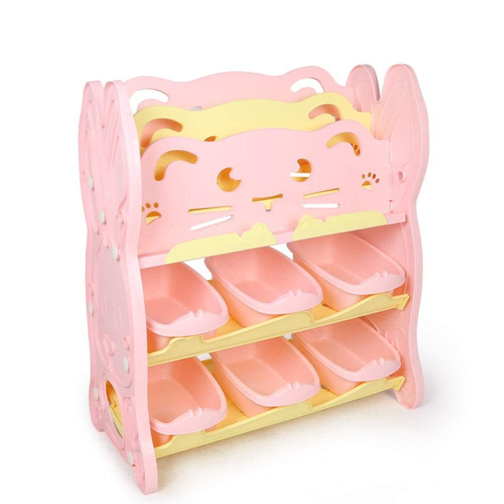 JAJXRCK Kids Toy Storage Organizer Kids Toy Plastic Bins Storage Box Shelf Drawer Storage Organizer Storage Box Shelf Drawer (Color : Pink, Size : Storage Cabinet+Bookshelf)