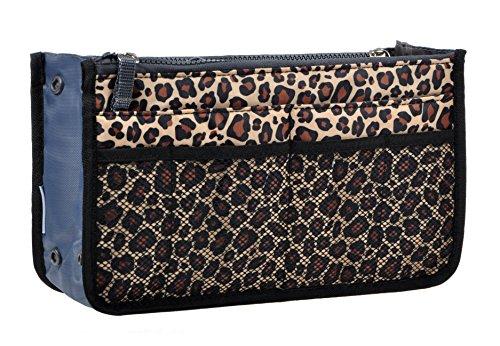 Purse Organizer,Insert Handbag Organizer Bag in Bag (13 Pockets 15 Colors 3 Size) (M, Leopard) (Insert Sturdy Purse)