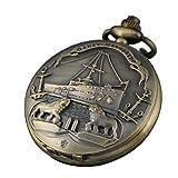 VIGOROSO Ship Lion Men Lady Vintage Retro Bronze Steampunk 48mm Pocket Watch Necklace