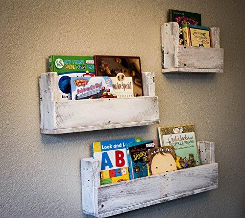 Drakestone Designs Nursery Bookshelves Various Sizes (Set of 3) | Wall Mount | Handmade Rustic Reclaimed Wood - Whitewash by Drakestone Designs (Image #3)