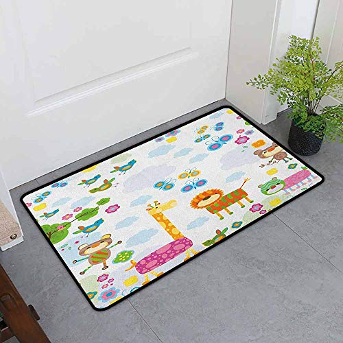 ONECUTE Indoor Doormat,Nursery Floral Background with Funny and Cute Animals Giraffe Lion Monkeys and Butterflies,Super Absorbs Mud,35