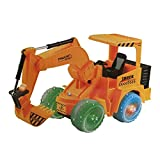 Toysery Electric Excavator Construction Tractor Truck Toy with LED flashing Lights and Sounds, Bump & Go Action Toys for Kids Boys and Girls (Wheels May Vary)