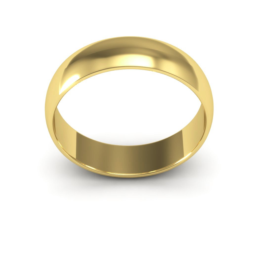 14K Yellow Gold men's and women's plain wedding bands 5mm light half round, 7.75 by i Wedding Band (Image #3)