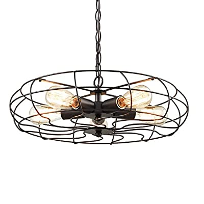 YOBO Lighting Industrial Chain Hanging Pendant Light Chandelier, 5-Light Oil Rubbed Bronze