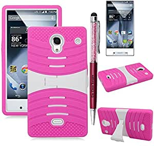 The3Knights[TM] For Sharp Aquos Crystal Armor Hybrid Kickstand Phone Case Cover + The3Knights[TM] Universal 2 in 1 Crystal Classic Stylus Pen + Premium Screen Guard (YA STAND PINK WHITE)