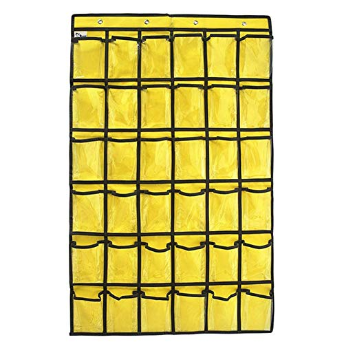 Multi-Purpose Cell Phones Pocket Chart, Classroom Small Calculators Display Storage Bag Holder, Large Capacity Classroom Home Accessories Caddy Tote with 36 Slots and 4 Free Hooks (HSND04) (Yellow)
