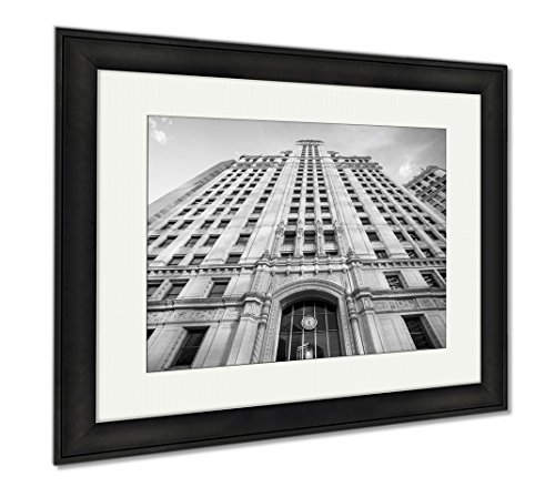 Ashley Framed Prints Chicago USA July 8 2014 Chicagos Famous Wrigley Building On Michigan Ave On A, Office/Home/Kitchen Decor, Black/White, 30x35 (frame size), Black Frame, - Ave Shops Michigan On