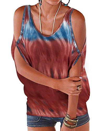 Femme t Demi Blouse Tops Floral Lache Round paules Noues Chic Dnudes Col YOINS Batwing Kaki Imprime Ouvertes Sexy Haut avec Manches q5dnC