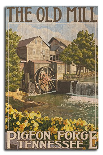 Lantern Press Pigeon Forge, Tennesseee - The Old Mill (10x15 Wood Wall Sign, Wall Decor Ready to Hang) -