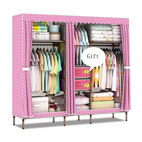 Double Canvas Effect Wardrobe - Clothes Storage Cupboard With 2 Drawer (W170 x D45 x H170cm) (Color : B) ()