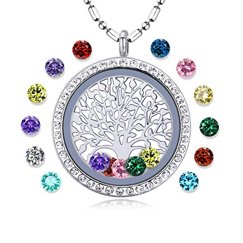 Family Tree of Life Floating Living Memory Locket Pendant Necklace with Birthstone, All Charms Included (Diamond-A03)