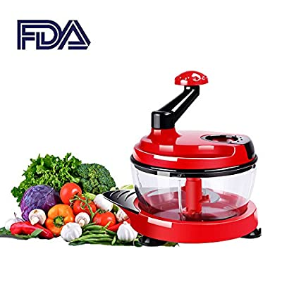 Manual Food Processor Meat Mixer Garlic Peelers Baby Multi Vegetable Chopper Meat Grinder Red 2000ml Food Mixer Blender to Chop Meat Fruits Vegetables Nuts Herbs Onions Garlic Tomato