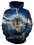 Uideazone Mens Lightning Wolf Pullover Hooded Sweatshirts Cool Winter...