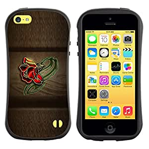 Fuerte Suave TPU GEL Caso Carcasa de Protección Funda para Apple Iphone 5C / Business Style Rose Color Beige Wood Pattern