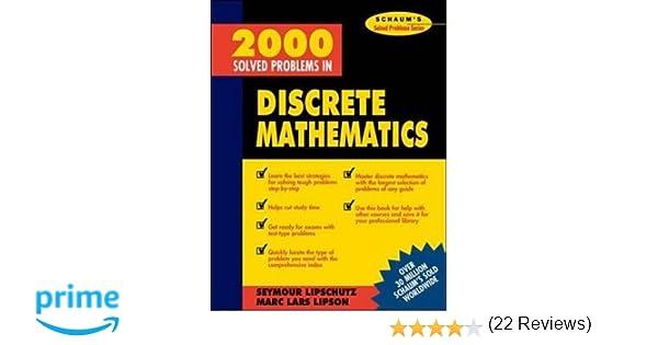 2000 solved problems in discrete mathematics seymour lipschutz 2000 solved problems in discrete mathematics seymour lipschutz 9780070380318 amazon books fandeluxe Choice Image