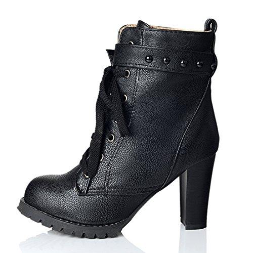 YE Damen Blcockabsatz Ankle Boots High Heels Stiefeletten mit Schnürsenkel und Nieten Elegant Schuhe Schwarz