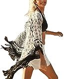 Jeasona Women's Bathing Suits Cover Up Beach Ethnic Tassel Cardigan (Black, One Size)