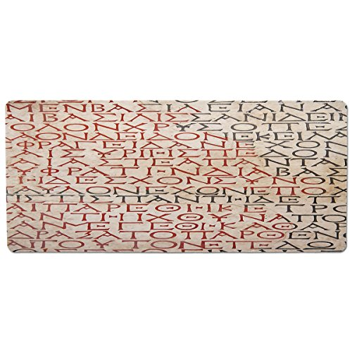 iPrint Pet Mat for Food and Water,Toga Party,Antique Latin Culture Alphabet Writing Carved on The Tombstone Print Decorative,Peach Dark Coral Taupe,Rectangle Non-Slip Rubber Mat for Dogs and Cats