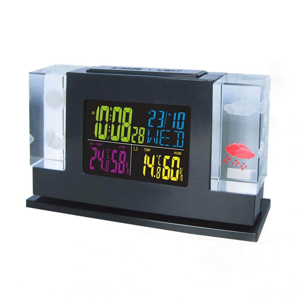 Home White RF Digital Clock Wireless Weather Station with Backlight Thermometer Remote Sensor