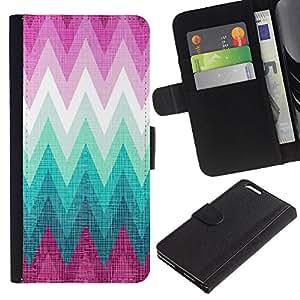 KingStore / Leather Etui en cuir / Apple Iphone 6 PLUS 5.5 / Rosa Montañas Chevron Bosque Absract