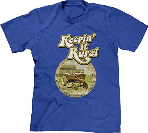 Blittzen Mens T-shirt Keepin It Rural Its Easy Being Green, 2XL, Royal Blue