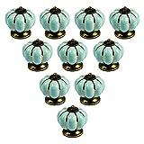 abcGoodefg® Ceramic Pumpkin Knobs for Dresser Drawer Kitchen Cabinet Door Cupboard Pulls Handles (Light Blue, 10PCS)