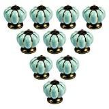 abcGoodefg Ceramic Pumpkin Knobs for Dresser Drawer Kitchen Cabinet Door Cupboard Pulls Handles (Light Blue, 10PCS)
