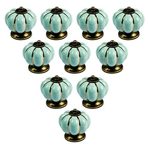 abcGoodefg Ceramic Pumpkin Knobs for Dresser Drawer Kitchen Cabinet Door Cupboard Pulls Handles (Light Blue, 10PCS) by abcGoodefg