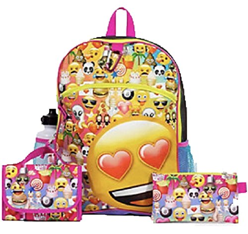 Kids Emoji 5 Piece Backpack & School Accessories (Set Accessory Pack)