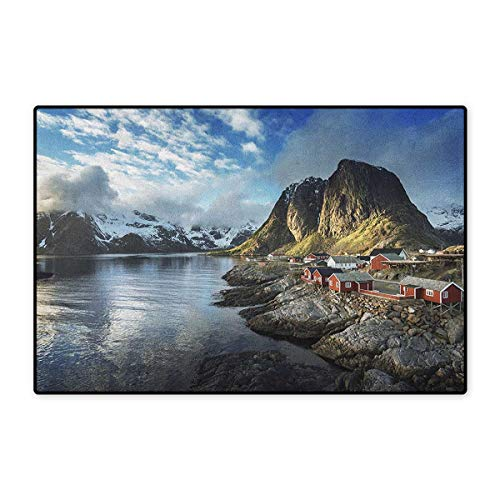 Island,Door Mat for Tub,Fishing Hut Photo in Autumn with Rocks and Clouds Scenery Northern Norway Cold,Customize Door Mat with Non Slip Backing,Blue Grey White,Size,16
