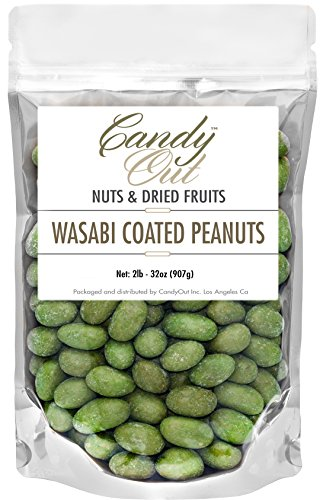 (CandyOut Wasabi Peanuts 2 Pound Wasabi Coated Peanut Snack in Sealed Resealable Stand Up Bag)