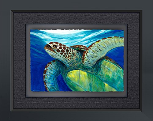 Wyland Limited Edition Fine Art Giclee on Paper 'Sea Turtle Portrait' Hand Signed By the Artist With A Custom Frame