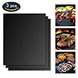 Grill Mat, ZOETOUCH BBQ Grill Mat Grilling Mats Non-Stick Teflon and PTFE, FDA Approved 33x40 cm Reusable and Easy to Clean,Baking Mats for Gas, Charcoal, Oven Electric, Grills Barbecue (Pack of 3 )