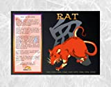 Asian Oriental Chinese Zodiac Poster Year of the Rat: Birth Years 1912 1924 1936 1948 1960 1972 1984 1996 2008
