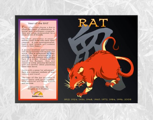 Goldenwave Creations Asian Oriental Chinese Zodiac Poster, Year of The Rat: 1924, 36, 48, 60, 72, 84, 96, 2008