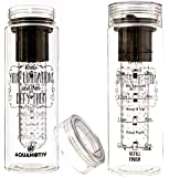 28 oz Inspirational Infusion Water Bottle with Timed Water Intake Tracker | Create Your Own Fruit Infused Water, Tea, or Sparking Beverage | BPA-FREE Fitness Water Bottle |