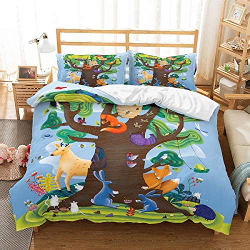 Blue Frog Bedding - PATATINO MIO Animal in Woods Cartoon Bedding Set Twin for Kids,Foxes Mouse Rabbit Birds Hedgehog Frog Around Big Green Tree Blue Duvet Cover Set 2 Piece for Boys,Girls,Teens and Toddlers