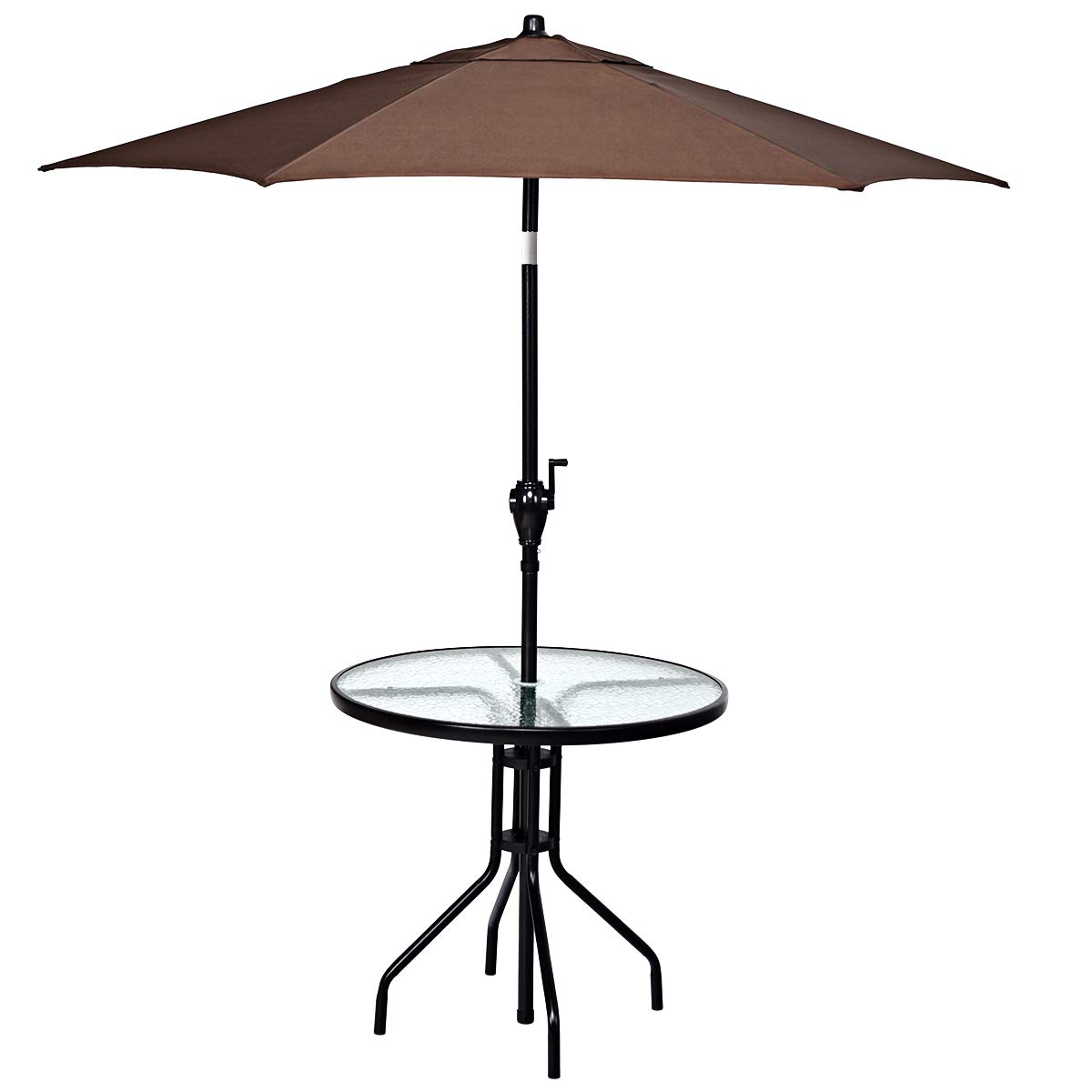 Tangkula 2PC Garden Furniture Set, Patio Garden Set with 32'' Round Table and 6.6ft Umbrella (Black Round Table & Brown Umbrella)