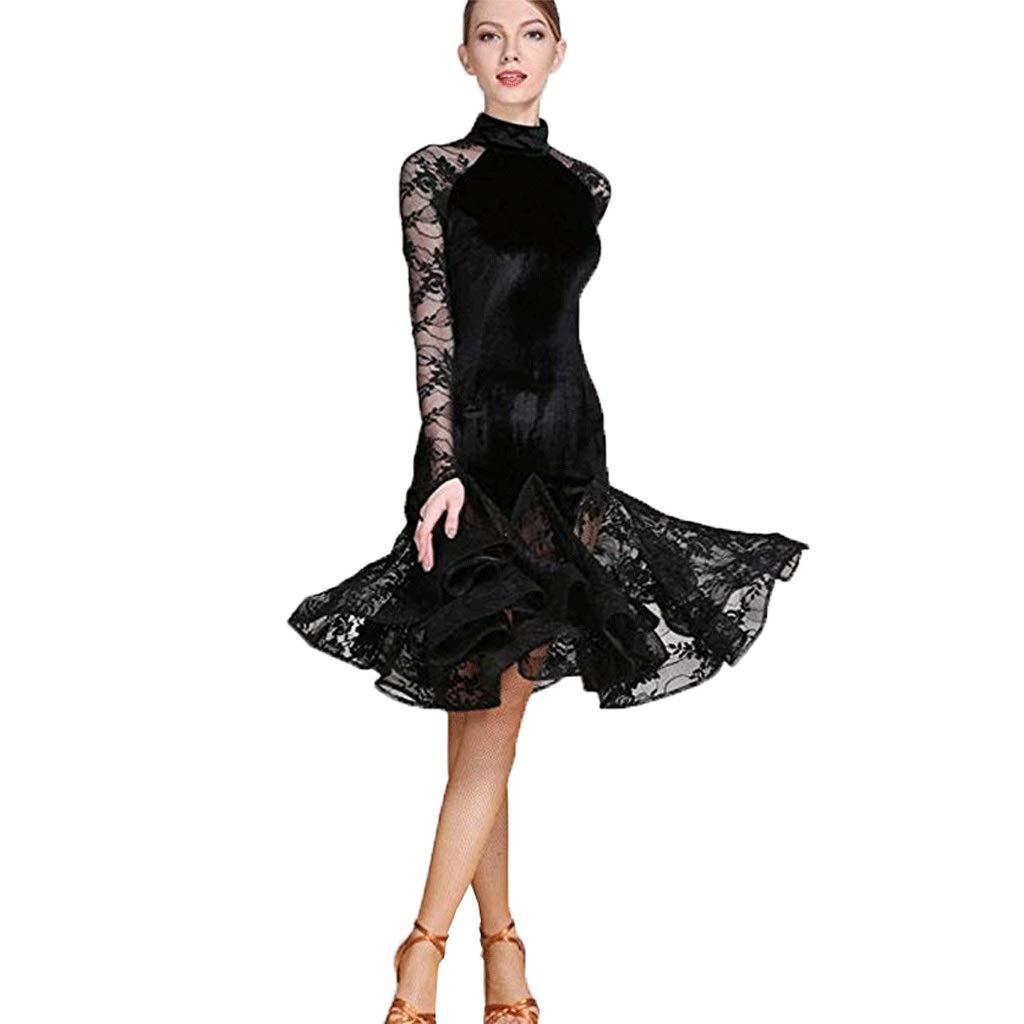 【ギフ_包装】 女性のためのラテンの標準的なダンスのダンスのダンスの服 B07QG1VLCY、レースのスプライス長袖ハイネック競争ダンス衣装 B07QG1VLCY XXL|ブラック XXL|ブラック ブラック ブラック XXL, 安心院町:7114f2ea --- a0267596.xsph.ru