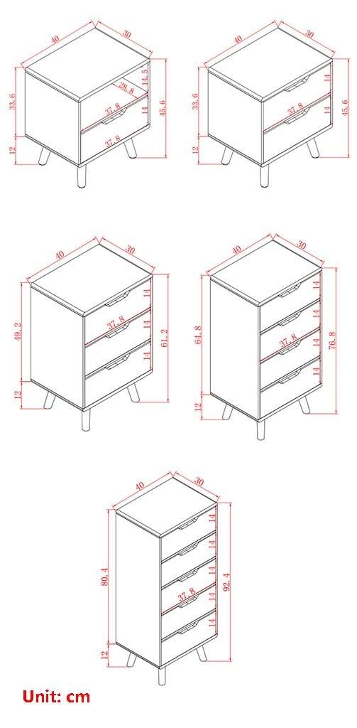 Tama/ño : 40 * 30 * 45.6cm-#1 Nightstand Global-DIY Mesilla de Noche Blanca con Almacenamiento en cajones y estantes mesita de Noche con mesita de Noche