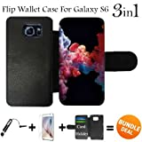 3in1 vape - Colorful Vape Smoke Custom Galaxy S6 Cases Flip Wallet Case,Bundle 3in1 Comes with HD Tempered Glass/Universal Stylus Pen by innosub