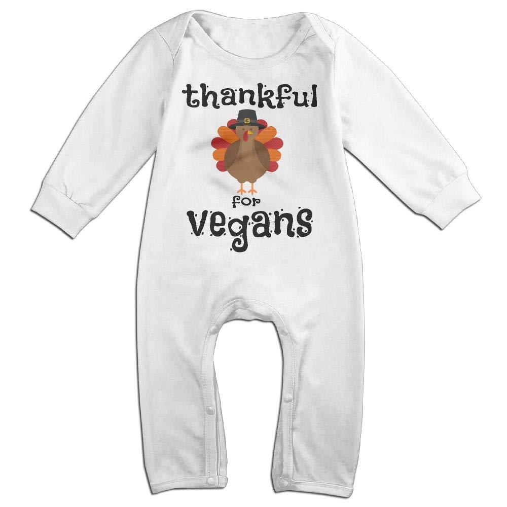 Mri-le1 Baby Boy Long Sleeve Jumpsuit Thankful Vegans Thanksgiving Turkey 3-1 Baby Clothes