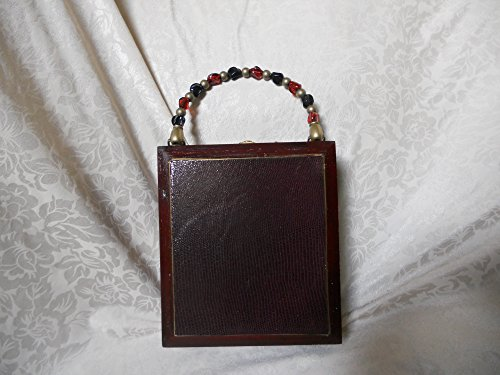 Cigarbox Purse, Burgundy Embossed Lambskin Leather, Tina Marie Purse Purse, Vintage.